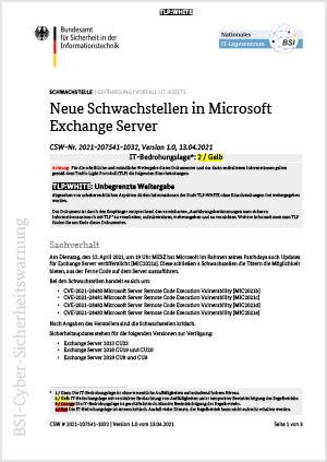 Schwachstellen in Microsoft Exchange Server PDF
